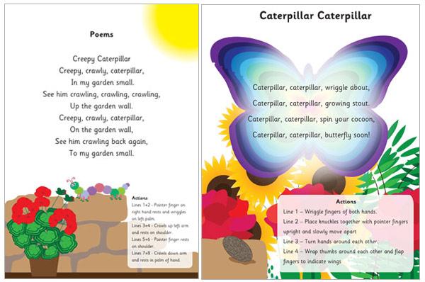 illustrated caterpillar poems   eyfs ks1 poetry free