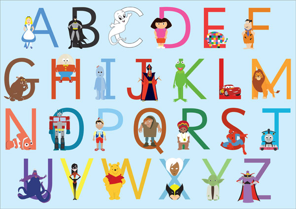 A3 Children S Character Alphabet Free Early Years