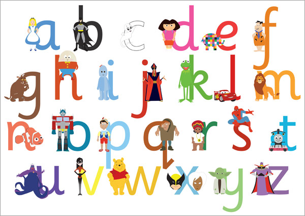 A3 Children S Tv Film Character Alphabet Lowercase
