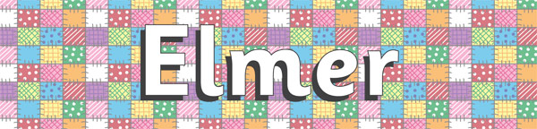 Elmer The Elephant Display Banner –Patchwork Design