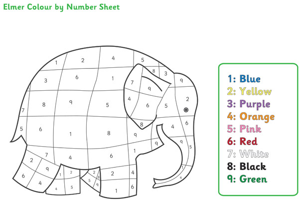 Elmer the Elephant Colour by Numbers : Free Early Years ...