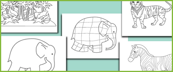 Elmer The Elephant Colouring Sheets