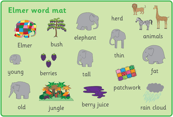 Elmer the Elephant Word and Image Mats