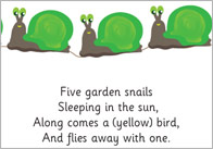 Early Learning Resources Five Garden Snails Poem - EYFS