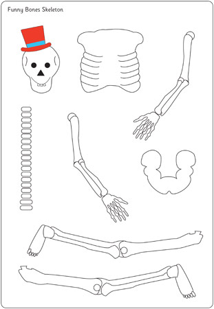 Funny bones moving skeleton cut out free early years for Skeleton template to cut out
