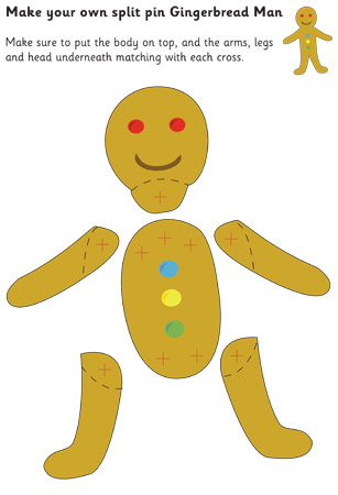 Gingerbread Man Split-Pin Character | Free Early Years & Primary ...