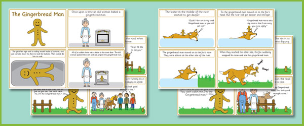 photograph regarding Story Sequencing Cards Printable named Early Finding out Supplies The Gingerbread Male Tale