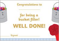 Have You Filled A Bucket Today? Editable Certificates