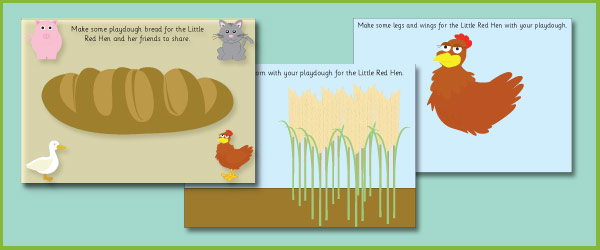 Little Red Hen Play Dough Mats on Emotions Dice Editable Text