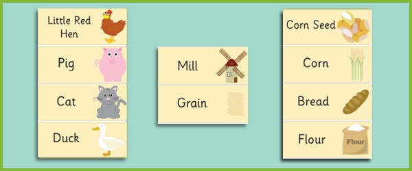 Little Red Hen Word Flashcards Free Story Resources