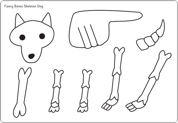 skeleton template to cut out - funny bones moving dog cut out poster free early years
