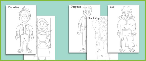 Pinocchio Colouring Sheets