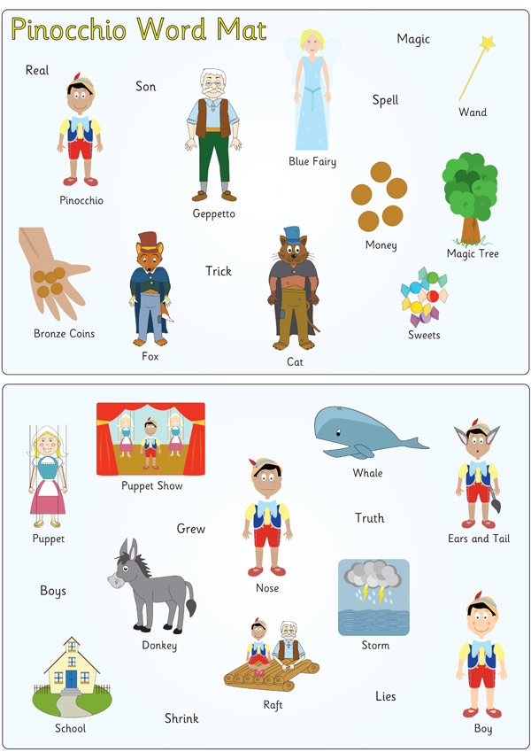 Pinocchio Word and Image Mats | Free Early Years & Primary