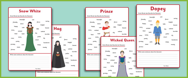 character and setting worksheets