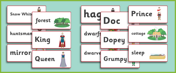 snow white word flashcards  fairy tale teaching resources