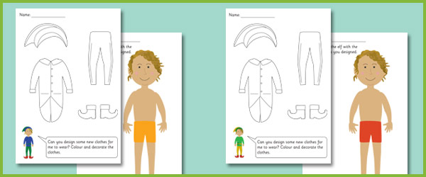 The Elves and the Shoemaker Dress Up Cards