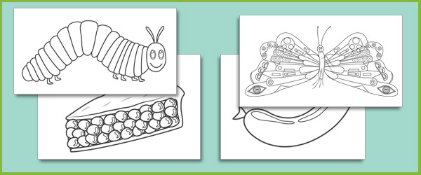 The very hungry caterpillar colouring sheets free early for Very hungry caterpillar templates free