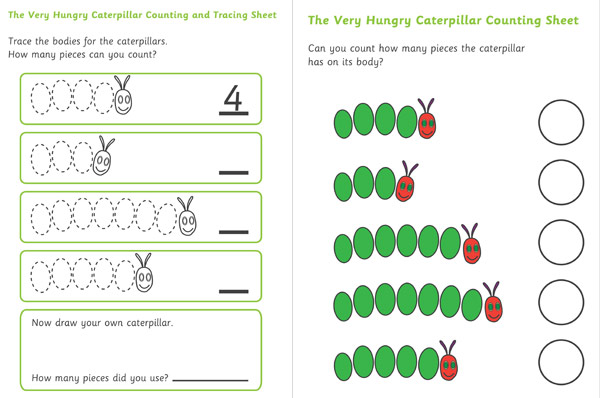 {The Very Hungry Caterpillar Counting and Tracing Sheet – Early Years Maths Worksheets