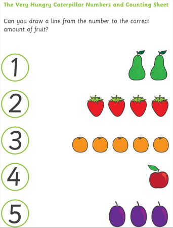 The Very Hungry Caterpillar Fruit And Vegetable Counting
