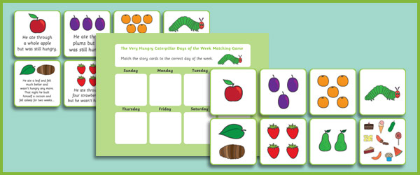 The very hungry caterpillar days of the week game free early years