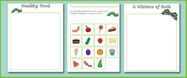 The Very Hungry Caterpillar Healthy Eating Counting Game on Emotions Dice Editable Text