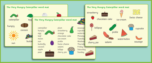 The Very Hungry Caterpillar Word Mats Free Early Years