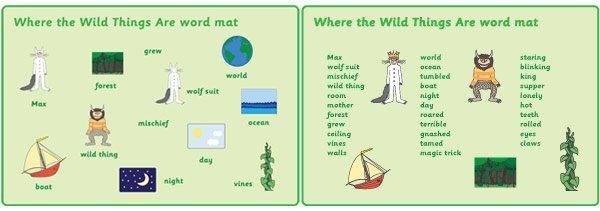 Where The Wild Things Are Word Mats Story Resources