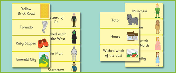 The Wizard of Oz Word Flashcards