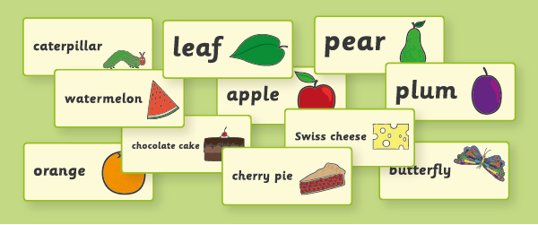 The Very Hungry Caterpillar Word Flashcards