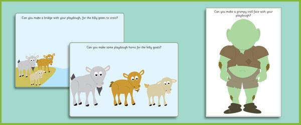 Three Billy Goats Gruff Playdough Mats