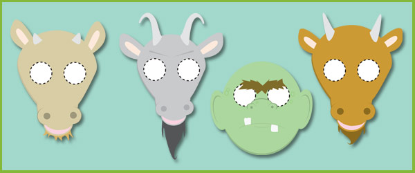 Three Billy Goats Gruff Role-Play Masks
