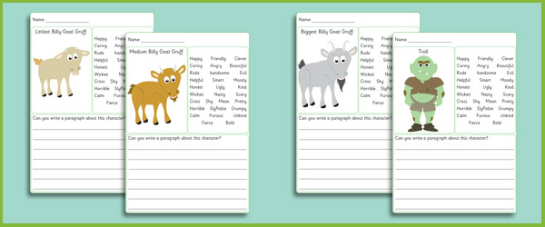 Three Billy Goats Gruff Character Writing Frames