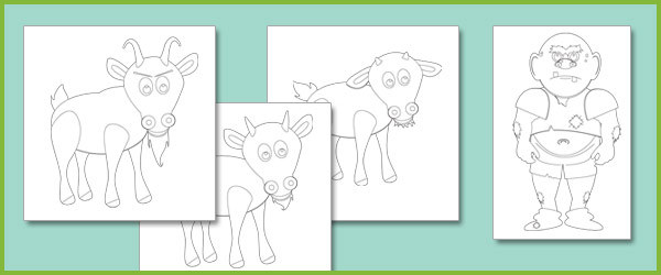 Three Billy Goats Gruff Colouring Sheets
