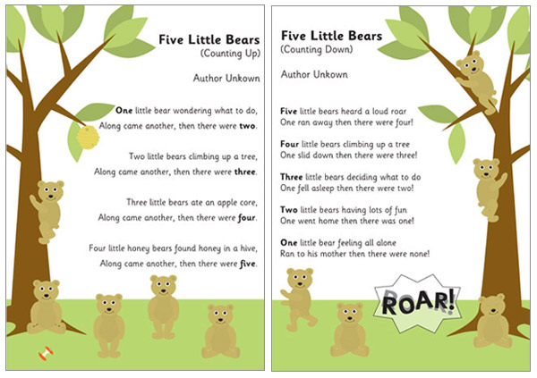 5 Little Bears Counting Rhymes Free Early Years