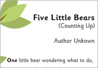 Fives Little Bears Counting Up 1 5 Little Bears Counting Rhymes