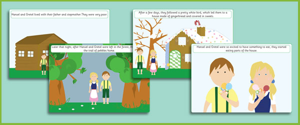 image regarding Story Sequencing Cards Printable named Early Studying Materials Hansel and Gretel Tale Sequencing