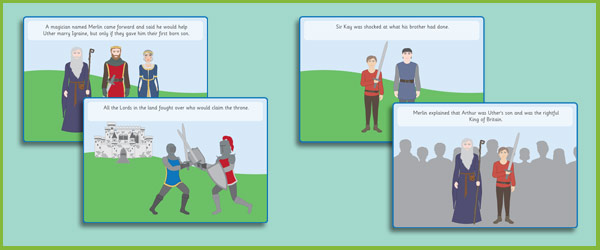 King Arthur Story Sequencing Cards