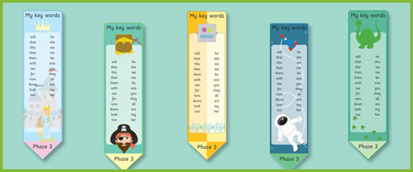 Phase 3: High Frequency Word Bookmarks