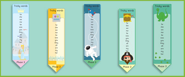 Phase 3: Tricky Word Bookmarks