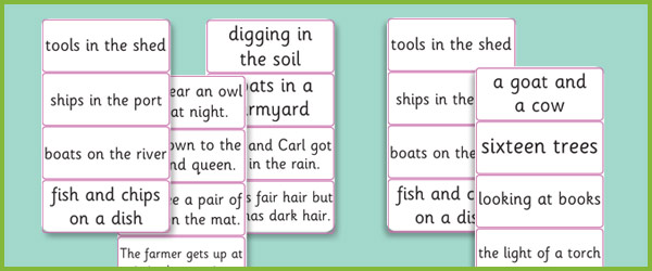 Phase 3 Caption Sentence Cards Free Early Years