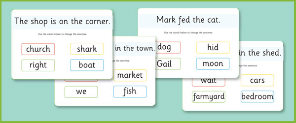 Phase 3 Sentence Substitute Mats Free Early Years