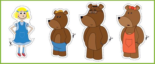 Goldilocks And The Three Bears Mask Templates Goldilocks stick puppets