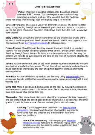 Little Red Hen Story Activities