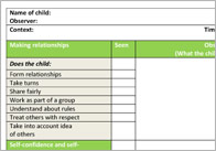 EYFS Observation / Assessment Templates