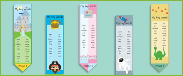 phase 4  high frequency word bookmarks