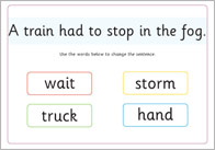 Phase 4 sentence substitution mat