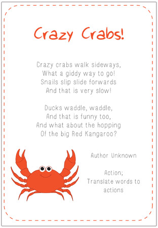 crazy crabs poem eyfs and ks1 free early years