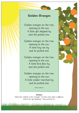 Golden Oranges Summer Poem on Language Emotions