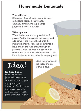 Early Learning Resources Homemade Lemonade Recipe