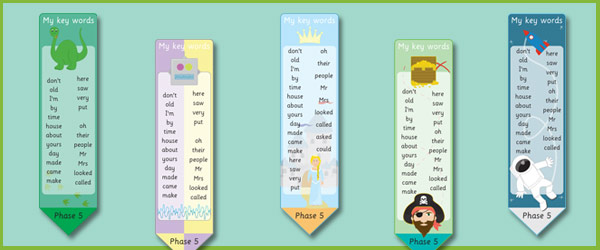 Phase 5 High Frequency Word Bookmarks